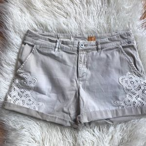 Anthropologie Pilcro khaki shorts with lace, 28